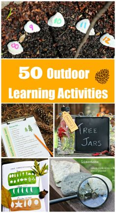 50 Outdoor Learning Activities for Kids EASY Outdoor Activities for preschool & elementary kids that can be done year-round -- summer, fall winter & spring! Perfect for a DIY Nature unit study -- kids can learn about nature, play games outside, and explor Outside Activities For Kids, Autumn Activities For Kids, Nature Activities, Kids Learning Activities, Summer Activities For Kids, Family Activities, Stem Learning, Outdoor Preschool Activities, Forest School Activities