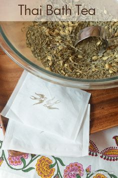 DIY Thai Bath Tea w/ lemongrass, jasmine, spearmint, green tea, kelp & ginger powders & sea salt. ~
