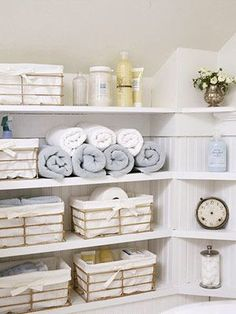 I am going to designate a shelf in my walk-in closet to bathroom items in baskets :) Just pull the basket take what you need and put it back on the shelf when done.