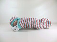 Cocoon, Sleep Sack, Sleep Bag, Blanket, Wrap in Sea Green, Coral, White Stripes $25 USD  www.HeavenBoundHCA.com
