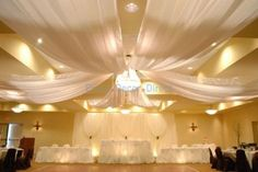 Our elegant ceiling draping kits are engineered to be lightweight and durable. This kit includes HARDWARE ONLY. Our ceiling draping kits are designed for easy installation and removal. Fabric Ceiling, Ceiling Decor, Inexpensive Wedding Venues, Wedding Reception Decorations, Wedding Halls, Reception Ideas, Reception Backdrop, Diy Wedding, Wedding Flowers