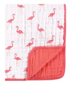 c7ddc921da7 Love this Coral  amp  White Flamingo Muslin Tranquility Blanket on  zulily!   zulilyfinds