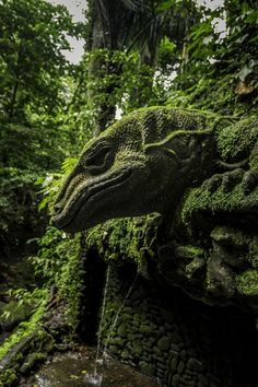 Sacred Monkey Forest - Ubud - Bali.  stone guardian - By Peter Konzer
