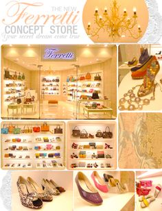 Ferretti created a new concept store around this idea. The interiors are fresh and well-lit, with accent pieces such as a bronze chandelier and a pretty little shoe-shaped ring holder. The walls are decked with silver and pastel pink wallpaper that lends a soft haze to the wonderfully designed space. There's a modern Victorian feel to the store - a delicate sensibility that represents the feminine desire to be beautiful.
