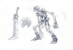 Skeleton Warrior concept art for Battle Chasers Nightwar game (Pencil)