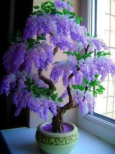 A Gorgeous Beaded Bonsai (I think these are beads, pretty) A Gorgeous Bonsai that looks too perfect to be Real, but I still love it all the same. What a gorgeous tree or bush, lucky if you have one of those . Beautiful Bonsai in Bloom Love this seed bead