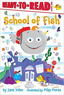 "KISS THE BOOK Jr.:   School of Fish by Jane Yolen, illustrated by Mike Moran. EARLY READER. Simon Spotlight (Simon & Schuster), 2019. $18. 9781534438897  BUYING ADVISORY: EL (K-3) - ADVISABLE   AUDIENCE APPEAL: AVERAGE  Told in the first person, with plenty of rhyming, this is the story of a little grey fish who is off to school. On the way he faces several fears and obstacles but he uses the mantra ""Wait! Count to ten. Think about calm seas, and then…"""