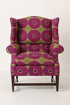 """African wax print: Josef Wingback Chair, Violet Orbs """"I love this beautiful chair"""" African Interior, African Home Decor, African Textiles, African Fabric, African Prints, Queen Anne Chair, African Design, African Style, Funky Furniture"""