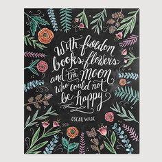 Inspirational Art - Oscar Wilde Print - Book Lover Gift - Chalkboard Art - Floral Print - Book Quote - Chalkboard Decor - Chalk Art
