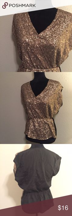 Sequin Top Gorgeous sequin top with cinched waist! There is a snap to keep the bust area closed. Sequin front, sheer back. No trades. Collective Concepts Tops