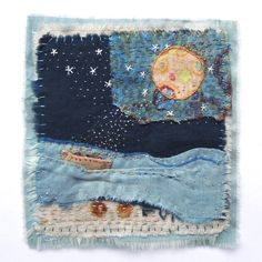 "Jude Hill, Conversing with the moon. Cotton & silk fabrics (including hand dyed and vintage), cotton thread (including hand dyed). Hand-stitched. 4"" H x 4"" W (approx.)"
