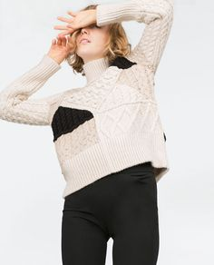 Image 2 of CABLE KNIT PATCHWORK SWEATER from Zara