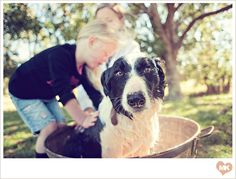 Family portrait session - washing the dog. Yes, a session washing the family dog. And it is FABULOUS.  Photography: Matt & Katie.