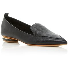 Nicholas Kirkwood Beya Leather Loafers (6.330.330 IDR) ❤ liked on Polyvore featuring shoes, loafers, black, black loafer shoes, loafer shoes, leather loafers, loafers moccasins and real leather shoes