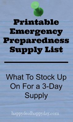 FREE Printable Emergency Preparedness Supply List – What To Stock Up On For a Supply happydealhappyday. Hurricane Preparedness, Disaster Preparedness, Survival Prepping, Survival Skills, Survival Gear, Wilderness Survival, Survival Stuff, Survival Shelter, Homestead Survival