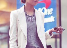 Fall Crave: White Blazer + Gray Tee + Statement Necklace