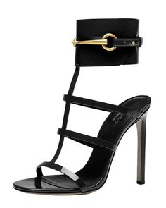 Ursula Patent Ankle-Wrap Cage Sandal, Black by Gucci at Bergdorf Goodman.