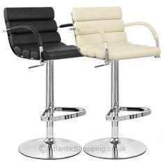 Brilliant breakfast bar stools pertaining to The house Kitchen Breakfast Bar Stools, Kitchen Stools, Gray And White Kitchen, Grey And White, White Kitchens, Elegant, Wall Lights, Chrome, Chair