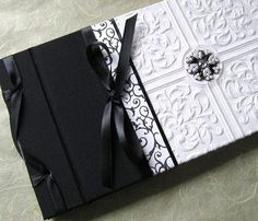 Wedding Guest Book, Black & White Vintage Beading, Textured, Gothic, Handmade 6 x 10. $60.00, via Etsy.