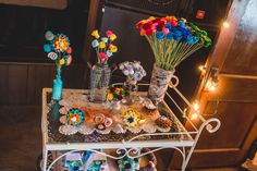 Swooning over this cart by The Felty Florist at  Happy Days during A Nuptial Soiree Hosted by Totally Cooked Catering.  Photo: Nick Edmundson www.nickedmundsonimaging.com