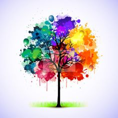 Sticker Colorful abstract tree