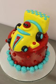 Miniature race car cake
