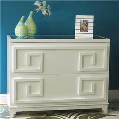 Laquer White Greek Key 2-Drawer Dresser modern dressers chests and bedroom armoires