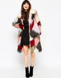 Faux-fur patchwork coat? So necessary.