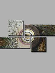 Pintada a mano Abstracto Pinturas de óleo,Modern Cuatro Paneles Lienzos Pintura al óleo pintada a colgar For Decoración hogareña