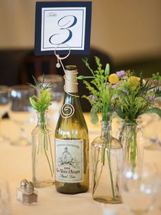 Table Number Holders For Wine Bottles | Recycled Bride