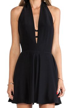 Little Black Halter, Backless A-Line Dress.