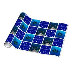 This unique Christmas wrapping paper features images of a Hawksbill Sea Turtle. The photos were taken on Australia's Great Barrier Reef. #turtle #coral #turtles #reef #scuba #animals #marine #postcard #diving #australia