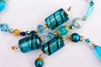 Beautiful blue glass beads and crystals