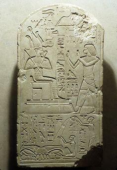 Limestone Stela of Senu Adoring Osiris. New Kingdom, Dynasty 18, reign of Amenhotep III, ca. 1390–1352 B.C. From Tuna el-Gebel possibly