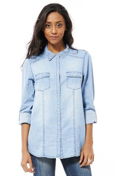 Ladies Denim Shirt With Collar Detail XLarge UK 22 - 24 Plus Size Top