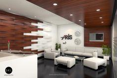 Diseño de recepción, oficinas Aris, Lima. // Diseño de S-XL Arquitectos.