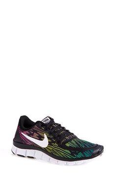 Women's Nike 'Free 5.0 V4' Running Shoe (Black/Magenta/Red/White)