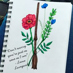 Luna Lovegood's wand and flowers. #harrypotter