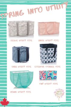 Our Utility Line has a fresh new look for spring with a few new products to get you ready for warm weather! Thirty One Utility Tote, Thirty One Games, 31 Party, 31 Gifts, 31 Bags, Tote Storage, 31 Ideas, Party Games, Warm Weather