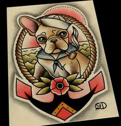 11 x 14 Frenchie Sailor Tattoo Flash van ParlorTattooPrints op Etsy