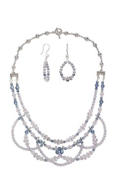 "NOTE: Single to double idea.   Jewelry Design - Double-Strand Necklace and Earring Set with Swarovski® Crystals and Antiqued Silver-Finished ""Pewter"" End Bars - Fire Mountain Gems and Beads"