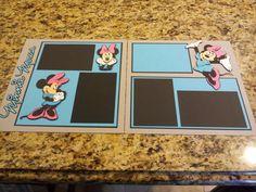 "Disney Minnie Mouse 2 Page 12""x12"" Scrapbook Layout w/ paper piecings, die-cuts"