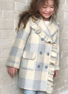 Girls' Casual Plaid Lapel Coats - Apocalypse Now And Then Cute Kids Fashion, Little Girl Fashion, Dresses Kids Girl, Girl Outfits, Cool Kids Clothes, Baby Coat, Kids Coats, Moda Fashion, Kids Wear