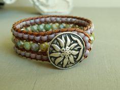Beaded leather cuff bracelet turquoise green by ShabbyChicGlam