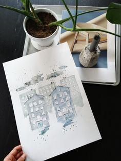 Blue home. Art by Sigrid Ida-Auroora Instagram @art.sigrid  #urbansketch #watercolor #blue #home #homedecor #art #vesivärit #vesivärimaalaus #kuvataide #taidemaalaus #maalaus Polaroid Film, Instagram, Artwork, Work Of Art, Auguste Rodin Artwork, Artworks, Illustrators