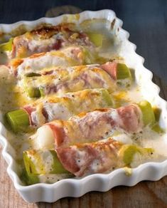 Überbackener Lauch mit Schinken Rezept - Recipe for baked leek with ham when eating and drinking. A recipe for 2 people. And other recipes i - Ham Recipes, Grilling Recipes, Low Carb Recipes, Cooking Recipes, Healthy Recipes, Easy Cooking, Think Food, Love Food, Recipe For 2 People