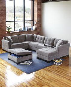 Elliot Fabric Microfiber 3-Piece Chaise Sectional Sofa - Furniture - Macy's