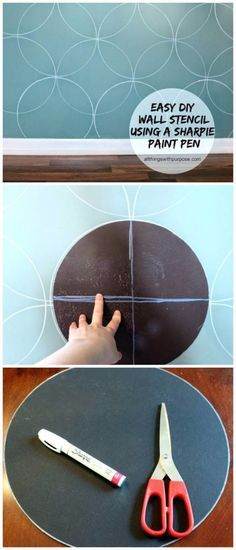 DIY Living Room Decor Ideas - Easy DIY Wall Stencil With Paint Pen - Cool Modern, Rustic and Creative Home Decor - Coffee Tables, Wall Art, Rugs, Pillows and Chairs. Step by Step Tutorials and Instructions http://diyjoy.com/diy-living-room-decor-ideas