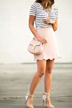 Lace and locks petite fashion blogger pink scallop skirt - 04
