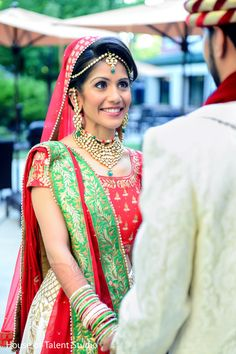 Beautiful indian bride first look reaction.
